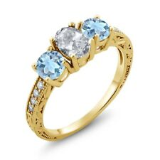 1.87 Ct Oval White Topaz Sky Blue Aquamarine 18K Yellow Gold Plated Silver Ring