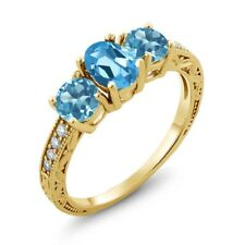 1.92 Ct Oval Swiss Blue Topaz 14K Yellow Gold Ring