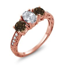 1.99 Ct Oval White Topaz Brown Smoky Quartz 14K Rose Gold Ring