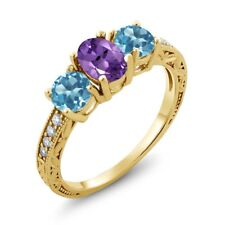 1.87 Ct Oval Purple Amethyst Swiss Blue Topaz 18K Yellow Gold Plated Silver Ring