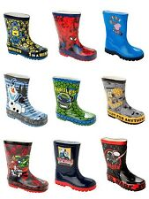 BOYS OFFICIAL CHARACTER WELLIES WELLINGTON RAIN SNOW WELLYS BOOTS UK SIZE 4-3