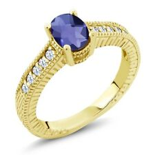 0.95 Ct Oval Checkerboard Blue Iolite 18K Yellow Gold Plated Silver Ring