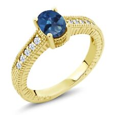 1.35 Ct Royal Blue Mystic Topaz White Created Sapphire 18K Yellow Gold Ring