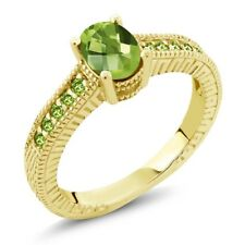 1.50 Ct Oval Checkerboard Green VS Peridot 18K Yellow Gold Plated Silver Ring
