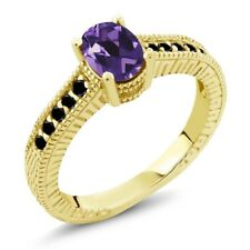 1.08 Ct Oval Purple Amethyst Black Diamond 18K Yellow Gold Plated Silver Ring