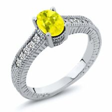 1.17 Ct Oval Canary Mystic Topaz White Sapphire 925 Sterling Silver Ring