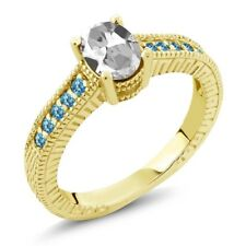 1.45ct White Topaz Swiss Blue Simulated Topaz 18K Yellow Gold Plated Silver Ring