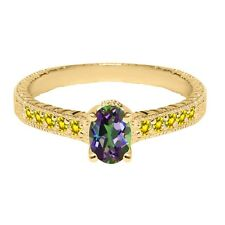 1.45 Ct Oval Green Mystic Topaz Yellow Created Sapphire 14K Yellow Gold Ring