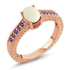 1.03 Ct Oval White Simulated Opal Purple Amethyst 14K Rose Gold Engagement Ring