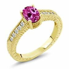 1.22 Ct Pink Created Sapphire White Sapphire 18K Yellow Gold Engagement Ring