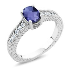 1.05 Ct Oval Checkerboard Blue Iolite White Created Sapphire 925 Silver Ring