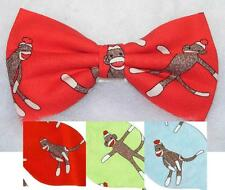 (1) PRE-TIED BOW TIE - CLASSIC SOCK MONKEYS - 3 COLORS - RED, LIME GREEN & BLUE