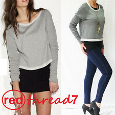 Bonds Womens Cropped Long Sleeve Top Crop Jumper Sweater Grey Size S M L XL Sale