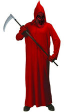 MENS RED DEVIL DEMON COSTUME HALLOWEEN LONG HOODED ROBE OUTFIT & GLOVES NEW