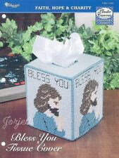 Bless You Tissue Cover ~ Boutique Tissue Box Cover plastic canvas pattern