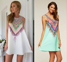 New Sexy Women Sleeveless Summer Boho Beach Dress Party Evening Cocktail dress