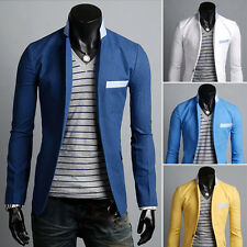 New Fashion Mens Slim Fit Stylish Casual One Button Suit Coat Jacket Blazers