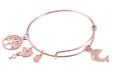 Rose Gold Plate Dolphin Charm Expandable Wire Bracelet Bangle #91499