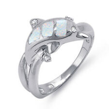 Dolphin Twin Pod White Moon Fire Opal Inlay CZ Sterling Silver Ring Size 4 - 12