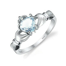 JewelryPalace Natural Aquamarine Irish Celtic Claddagh Ring 925 Sterling Silver