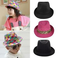 Boy Girl Jazz Hat Fedora Curly Brim Kids Unisex Cap Short Brim Dance Hats 20XY