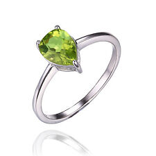 1.2ct Genuine Peridot Ring Solid 925 Sterling Silver Pear Women Solitaire