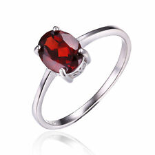 1.6ct Genuine Garnet Solitaire Ring Solid 925 Sterling Silver Women Oval