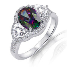 White Gold Oval Halo Rainbow Topaz CZ Wedding Engagement Silver Ring Size 4 - 12