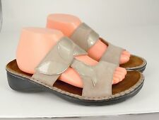 NAOT Womens Tan Nubuck Leather Slide Sandals w/Patent Leather Leaves EUR 42 US11