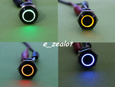 16mm 12V LED Angel Eye Latching Push Button Stainless Steel Power Switch