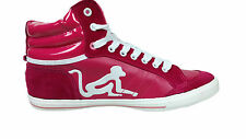 Womens DRUNKNMUNKY Boston Hi Tops Trainers Sneakers Raspberry White