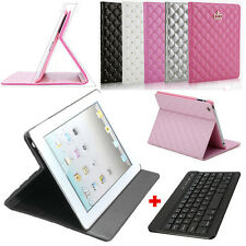 Leather Case Cover Stand With Slim Wireless Bluetooth Keyboard For Apple iPad