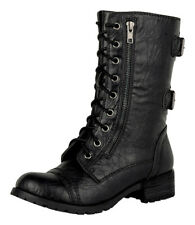 DOME! Soda Women's Military Combat Lug Sole Lace Up Leatherette Mid-calf  Boots
