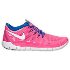 New Nike Youth Free Run 5 GS Shoes (644446-601) Hyper Pink/Metallic Silver/Royal