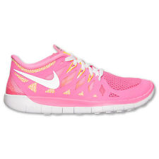 New Nike Youth Free Run 5 GS Shoes (644446-600) Pink Glow/Metallic Silver-White
