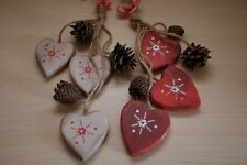 *SECONDS* Shabby Chic Nordic Rustic Hanging Heart Christmas Wall Tree Decoration