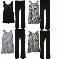 New Womens Ladies Plus Size Sleeveless Sequin Floral top vest Trousers 12 - 26
