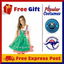 Ladies Oktoberfest Beer Maid Wench German Fancy Dress Green Halloween Costume
