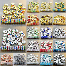 100Pcs Czech Crystal Rhinestone Wavy Rondelle Spacer Beads 4-10mm Gold & Silver