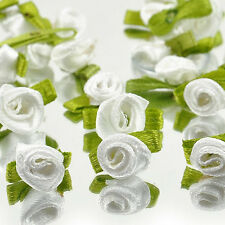 Ribbon Rose Wedding Flower Satin Decor Dress Applique Craft Sewing Leave new