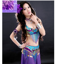 NEW! NJ02 Belly Dance Costume Outfit Set Bra Top Belt Hip Scarf Bollywood 2 PCS