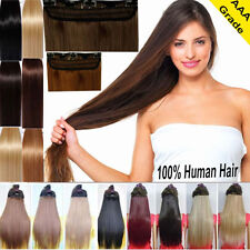 Best Clip In Remy Human Hair Extensions One Piece Weave Straight 18 20 22 UKX409