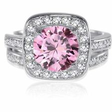 Sterling Silver Round Brilliant Cut Pink Sapphire CZ Wedding Engagement Ring Set