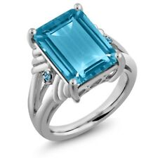 9.74 Ct Octagon Swiss Blue Topaz and Simulated Topaz 925 Sterling Silver Ring