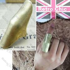 BIG RETRO BENT KNUCKLE armour RING tribal VINTAGE BRASS antique gold tone SHIELD