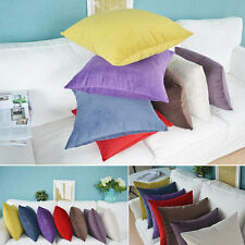 """Hot New Suede Nap Solid Cushion Cover Home Decor Sofa Throw Pillow Case 18""""x18"""""""