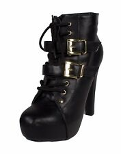SUNNY! SL98 Wome's Round Toe Buckle Lace Up Hidden Platform Ankle Bootie