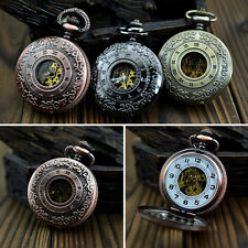 Fashion Mens Steampunk Mechanical Skeleton Pendant  Hand Winding Pocket Watch
