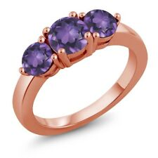 1.65 Ct Round Purple Amethyst 18K Rose Gold Plated Silver Ring