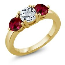 2.20 Ct Round White Topaz Red Created Ruby 18K Yellow Gold Plated Silver Ring